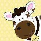 Cute Happy Cow -  Yellow Dot by JessDesigns