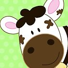 Cute Happy Cow -  Green by JessDesigns