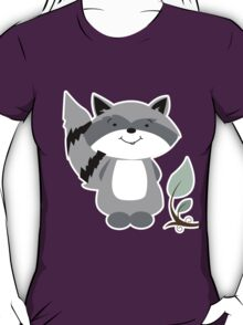 Enchanted Forest Raccoon Cartoon Animal T-Shirt