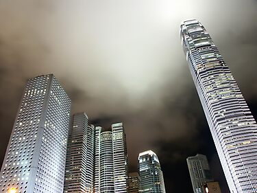 Hong Kong skyline by night by Peter Zentjens