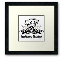 Chef Skull 3: Culinary Genius 3 black flames Framed Print