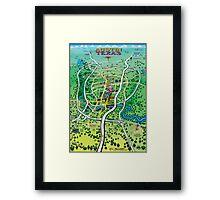 Austin Texas Cartoon Map Framed Print
