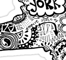 Hipster New York State Outline Sticker