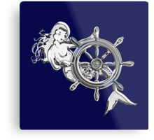 Chrome Style Nautical Mermaid Applique Metal Print