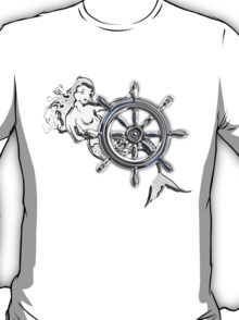 Chrome Style Nautical Mermaid Applique T-Shirt