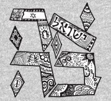 """""""Ahavah"""" - Hebrew Zentangle Kids Clothes"""