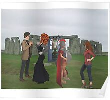 dr who and friends at stone henge Poster