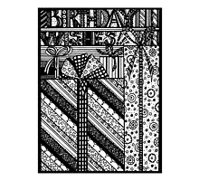 Zentangles Birthday Wishes Black & White smaller version for mugs by Heatherian