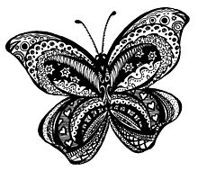 Zentangled Butterfly Black & White by Heather Holland by Heatherian