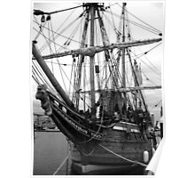 Old Sailing Ship BW Poster