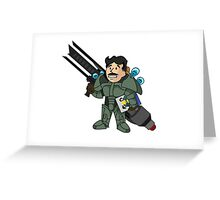 """Battle Ready Tesla Boy"" Greeting Card"