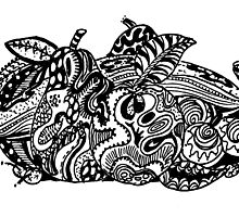 Zentangled Fruit Black & White by Heather Holland by Heatherian