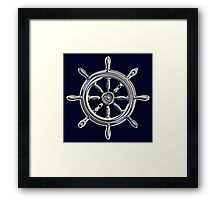 Chrome Style Nautical Wheel Applique Framed Print