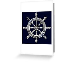 Chrome Style Nautical Wheel Applique Greeting Card