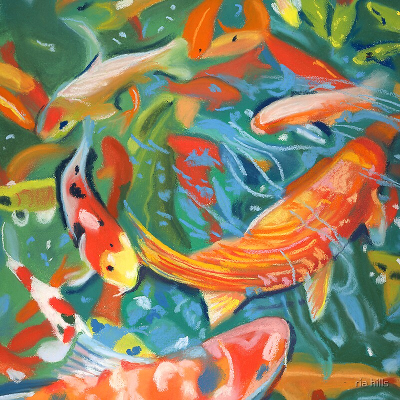 Abstract koi pond by ria hills redbubble for Koi pond bubble