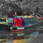 Narrowboats moored at canal side by SimplyScene