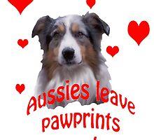 Australian Shepherds Leave  Pawprints On Your Heart by IowaArtist