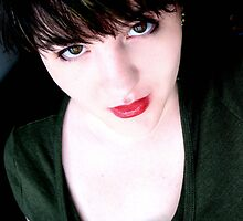 eyeliner and red lipstick by Amy  Briner
