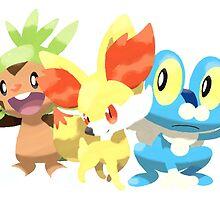 Pokemon X&Y starters  by NoviceMonster