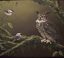 owl and chicadee's by bullerwell
