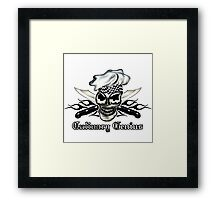 Chef Skull 8: Culinary Genius 3 black flames Framed Print