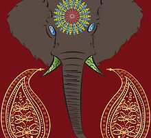 Elephant on Red by ActualSpiderman