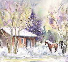 Horses In Voerstetten In Winter by Goodaboom
