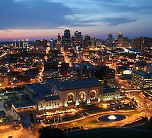 Union Station and Kansas City Skyline - Night by Peggy Lawrey