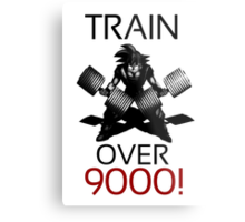 Train over 9000-BW Black Letters Metal Print