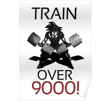 Train over 9000-BW Black Letters Poster