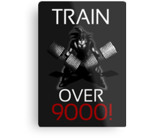 Train over 9000-BW White Letters Metal Print