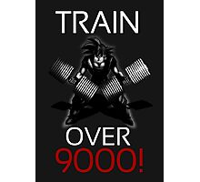 Train over 9000-BW White Letters Photographic Print