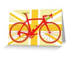 Bike Flag United Kingdom (Yellow) (Big - Highlight) Greeting Card