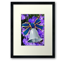 Silver Bell with Royal Blue Ribbon - New Year Card Framed Print