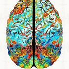Colorful Brain Art - Just Think - By Sharon Cummings by Sharon Cummings