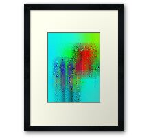 the red square argues with the blue twins... Framed Print