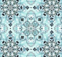 Soft Mint & Teal Detailed Lace Doodle Pattern by micklyn