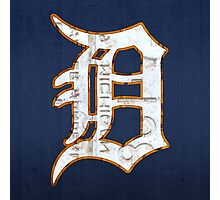 Detroit Tigers Vintage Logo Recycled License Plate Art Photographic Print