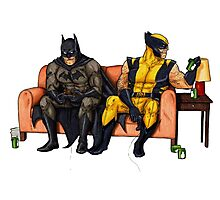Batman and wolverine Photographic Print