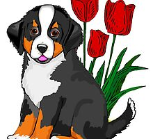 Bernese Mountain dog puppy with tulips by IowaArtist