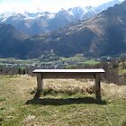 Little bench facing the Pyrennees mountains (Col du Soulor, South West France) by Corinne Pouzet