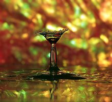 colored martini glass splash by Don Cox
