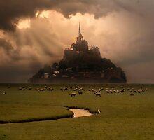 Sunset over Saint Michel Mont by JBlaminsky