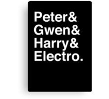 Peter & Gwen & Harry & Electro. (inverse) Canvas Print
