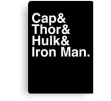 Cap & Thor & Hulk & Iron Man. (inverse) Canvas Print