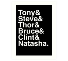 Tony & Steve & Thor & Bruce & Clint & Natasha. (inverse) Art Print