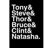 Tony & Steve & Thor & Bruce & Clint & Natasha. (inverse) Photographic Print