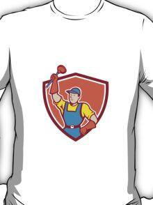 Plumber Holding Plunger Up Shield Cartoon T-Shirt