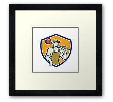 Plumber Holding Plunger Shield Cartoon Framed Print