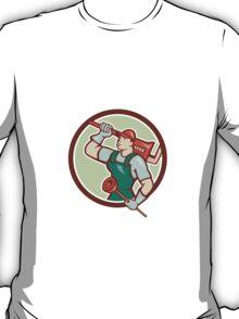 Plumber Holding Wrench Plunger Circle Cartoon T-Shirt